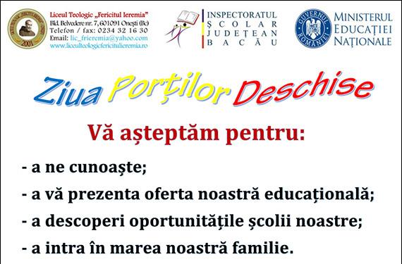 """Onești: Admiterea la Liceul Teologic """"Fericitul Ieremia"""" în anul scolar 2018-2019"""
