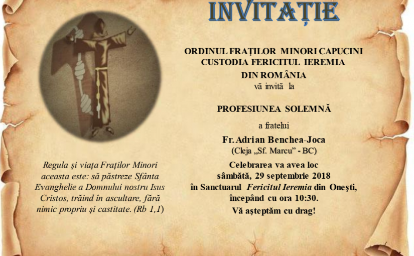 Invitație la Profesiunea Solemnă a fratelui Adrian Benchea-Joca